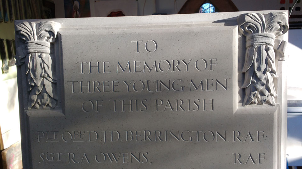 Detail of hand carved and inscribed Portland-limestone-church-war-memorial-monmouthshire.
