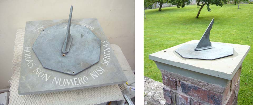 Hand carved sandstone sundials