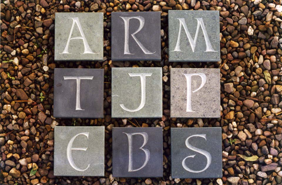 Initial letters on slate