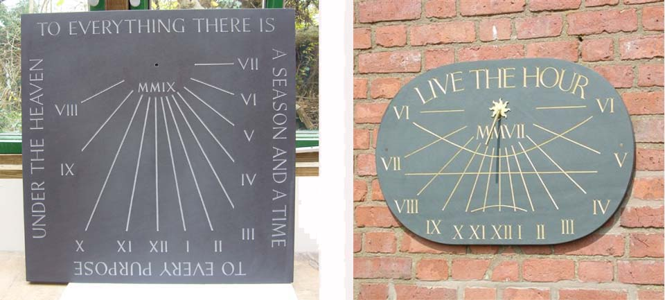 Hand carved slate sundials